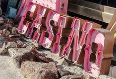 Gammalt övergett neonkasinotecken, Las Vegas Arkivbilder