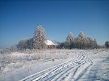 Gammalt övergett trähus i en busksnår av träd i ett snöig fält i kall vinterdag arkivfoto