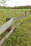 Gammalt övergett trästaket, ett staket, en äng arkivbild