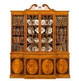Gammalt antikt engelska för bokhyllaskänkbreakfront med böcker Arkivbild