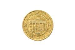 Gammalt använt och slitet ut 50 cent mynt Arkivfoto