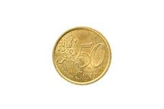 Gammalt använt och slitet ut 50 cent mynt Royaltyfria Foton