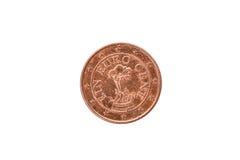 Gammalt använt och slitet ut 1 centmynt Arkivbild