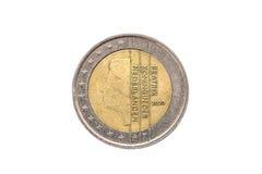 Gammalt använt och slitet ut mynt för euro 2 Fotografering för Bildbyråer