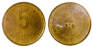 Gammalt argentine mynt Arkivbild