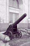 Gammalt artilleri i svartvitt Royaltyfri Foto