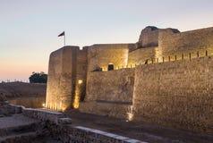 Gammalt Bahrain fort på Seef på solnedgången Fotografering för Bildbyråer