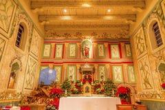 Gammalt beskickningSanta Ines Solvang California Basilica Altar kors Arkivbild
