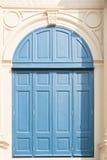 Gammalt blått fönster för tappning Royaltyfria Foton