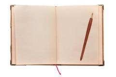 Gammalt boka och skriva royaltyfri bild