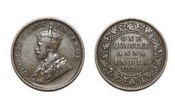 Gammalt brittiskt mynt Fotografering för Bildbyråer