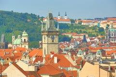Gammalt brotorn, panorama av Prague, Tjeckien Fotografering för Bildbyråer
