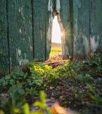 Gammalt brutet staket mot fältet i en solig dag för sommar arkivfoto