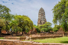 Gammalt buddistiskt tempel i Ayutthaya Thailand Royaltyfri Foto