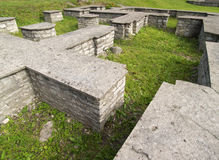gammalt byggnadsfundament Arkivfoton