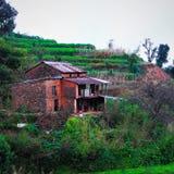 Gammalt byhus av Nepal Fotografering för Bildbyråer