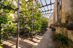 Gammalt citronhus i Limone sul Garda, Italien Arkivfoto