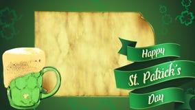 Gammalt eged papper på mitt av skärmen, målarfärg av den gröna björnen och bandet med dag för St Patricks för text lycklig royaltyfri foto