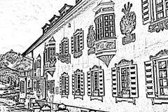 Gammalt europen huset vektor illustrationer