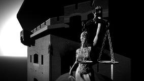 Gammalt fängelse som bygger tolkningen 3d Arkivfoto
