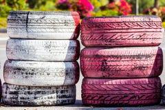 Gammalt färgrebbergummihjul Royaltyfri Fotografi