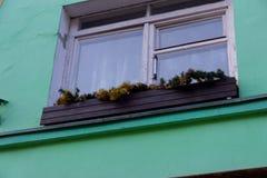 Gammalt fönster med en julgarnering arkivbilder