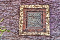 Gammalt fönster med murgrönaen Royaltyfri Foto