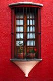Gammalt fönster med skyddsgallret Arkivbild