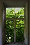 gammalt fönster Wood ram med exponeringsglas Arkivbilder