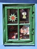 gammalt fönsterträ Arkivfoto