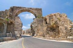 Gammalt fördärvar i sidan, Turkiet Arkivbilder