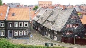 Gammalt Fachwerk hus i Goslar Arkivfoto