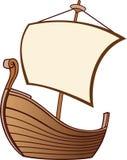 Gammalt fartyg med en segla stock illustrationer