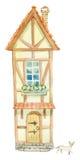 Gammalt felikt hus stock illustrationer