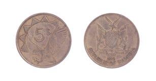 Gammalt fem dollar mynt, namibisk valuta Royaltyfri Foto