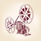 Gammalt filma projektorn räcker utdraget Arkivbilder