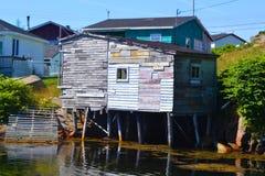 Gammalt fiske som utgjutas i Burgeo Newfoundland Royaltyfria Foton