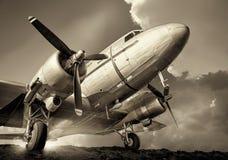gammalt flygplan fotografering för bildbyråer