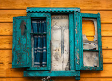 Gammalt fönster i Caminito Argentina Royaltyfria Foton