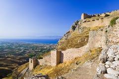 Gammalt fort i Corinth, Grekland Fotografering för Bildbyråer