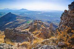 Gammalt fort i Corinth, Grekland Royaltyfria Bilder