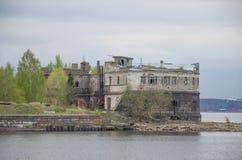 Gammalt fort Kronshlot i Kronstadt Ryssland Royaltyfria Foton