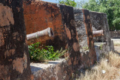 Gammalt fort - sikter runt om Curacao den karibiska ön Royaltyfri Bild