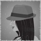 Gammalt foto av kvinnan i hatt Arkivbild