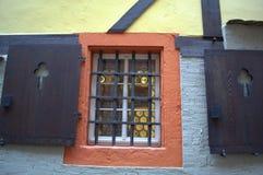 Gammalt gallerförsett fönster Royaltyfria Bilder