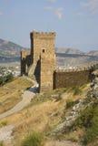 Gammalt Genoese århundrade för fästning XI i Sudak crimea ukraine royaltyfri fotografi