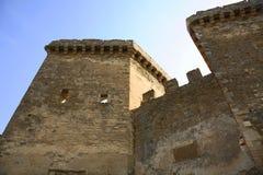 Gammalt Genoese århundrade för fästning XI i Sudak crimea ukraine arkivbilder