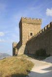Gammalt Genoese århundrade för fästning XI i Sudak crimea ukraine arkivfoto