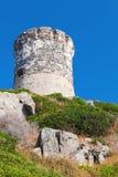 Gammalt Genoese torn, Ajaccio, Korsika, Frankrike Arkivfoton