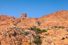 Gammalt Genoese torn på capoen Rosso, Korsika Fotografering för Bildbyråer